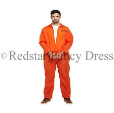 MENS ORANGE PRISONER COSTUME FANCY DRESS OVERALLS CONVICT JUMPSUIT STAG PARTY