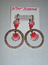 "NWT Betsey Johnson ""The Sea"" Shell Crystal Accent Orbital Drop Earrings"