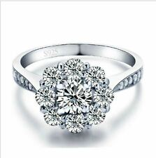 925 stamped silver cubic zirconia women fake engagement wedding ring  6 7 8 9 10