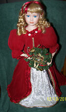 """Gorgeous Blond and Blue Eyed Light Up Merry Christmas Doll, 24"""" TallRed & White"""