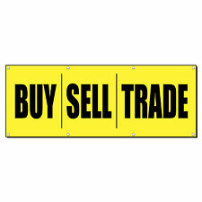 BUY SELL TRADE YELLOW & RED Promotion Business Sign Banner 4' x 2' w/ 4 Grommets