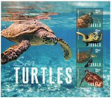 SEA TURTLES Stamp Sheet (Chelonididea) 2014 Tuvalu / Sea Marine Life #4
