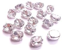 30pcs OVAL 8*10mm SEW ON Acrylic Silver Set Crystals Diamante MONTEES