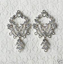 6 pcs Crystal Rhinestone Chandelier Earring Finding Bridal Earwire Silver EF036