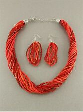 MULTI RED GLASS SEED BEAD MULTI STRAND TWISTED NECKLACE EARRING