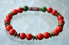 8 mm Red Coral Green Jade Wrist Mala Beads Bracelet - Attracts love Assists clea