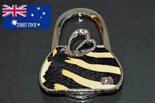 Handbag Shape Tiger Print with Diamante Folding Handbag Hanger Hook on Table