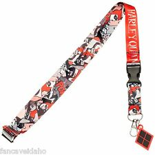 DC Comics Harley Quinn Comic Logo Lanyard ID Holder with Rubber Charm
