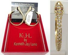NWT Kenneth J. Lane KJL Crystal Rhinestone Encrusted Snake Hoop Earrings