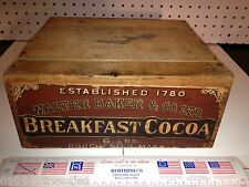 2 Antique CRATES in 1-VG Paper Label Baker's Cocoa Dorchester,Mass & Lilly Gloss