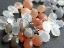 "HAND FACETED MOONSTONE DROPS, approx 7.5x10mm, 10"", 45 beads"
