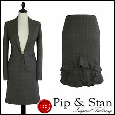JIGSAW UK12/14 US8/10 BEIGE GREY WOOL TWEED PLAID SKIRT SUIT WOMENS LADIES SIZE