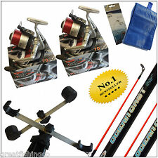 SEA FISHING KIT / SET UP  2 14FT RODS 2 REELS TRIPOD + TACKLE