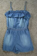 Mossimo Spaghetti Strap Ruffled Top Blue Jean One Piece Romper Jumpsuit size XS