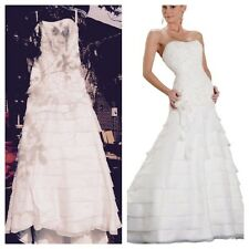 Brand New Private Collection Davids A Line Organza Beaded Bridal Wedding Dress