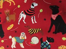 Puppy Dogs in Sweaters on Red Dog Novelty Quilt Fabric Fat Quarter FQ FQs