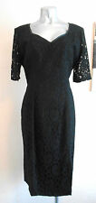 VINTAGE 80S BLACK LACE TAILORED 40S 50S GOTHIC PINUP FILM NOIR EVENING DRESS 12