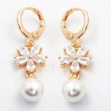White Teardrop Cubic Zircon Gold Plated Lady Link Pearl Flower Drop Earrings