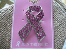PINK BREAST CANCER RHINESTONE AWARENESS PIN SILVER TONE 2""