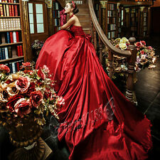 Red Train Wedding Dress Prom Party Quinceanera Cocktail Evening Dress Ball Gown