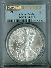 1999 SILVER EAGLE PCGS MAC MS68 FIRST STRIKE PQ 2ND FINEST REGISTRY SPOTLESS  *