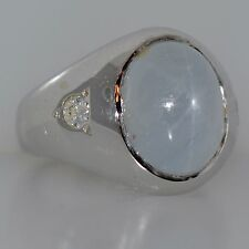 11 CT STAR SAPPHIRE & DIAMOND RING 14K WHITE GOLD NATURAL UNTREATED CABOCHON CUT