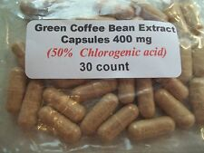 Green Coffee Bean Extract Powder Capsules (100% Pure) 400 mg - 30 count