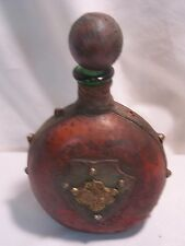 VINTAGE LEATHER WRAPPED GREEN BOTTLE DECANTER MADE IN ITALY
