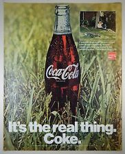 Vintage 1970 COCA-COLA Full-Page Large Magazine Print Ad: IT'S THE REAL THING