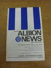 16/09/1967 West Bromwich Albion v Nottingham Forest  (Light Crease). This item h