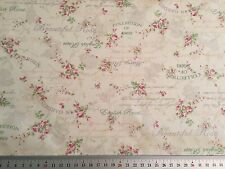 CLEARANCE - Cream Vintage style Rose print 100% cotton fabric