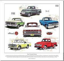 FORD F-Series Pickups-FINE ART PRINT-I primi sei generazioni ILLUSTRATO