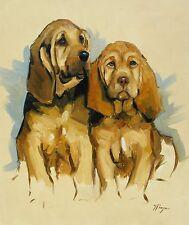 ORIGINALE olio dipinto-Ritratto di 2 Segugio CANE / puppys by J Payne
