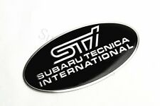 "1Pcs Ellipse STI 3.4"" Aluminum Auto Body Decoration Black Sticker Badge Emblem"
