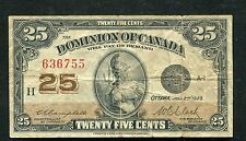 """DC-24d 1923 25 CENTS DOMINON OF CANADA """"SHINPLASTER"""" CAMPBELL/CLARK"""