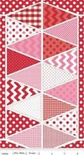 "Riley Blake Holiday Banners P560 Red   24"" Panel  - Cotton Fabric FREE US SHIP"