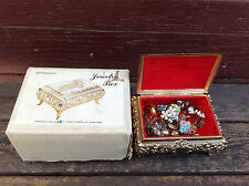 Vintage Antimony Embossed Jewellery Box Filled With Clip On Earrings in Box
