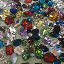 MIXED Shapes Sizes Colours Pointback Rhinestones Crystal Glass Chaton 100ps UK