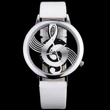 Musical Note Dial GU Quartz Movement Watch with PU Leather Band