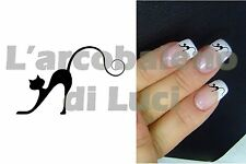20 AUTOCOLLANTS ONGLES CHAT CHATON CAT SILHOUETTE MANUCURE NAILS ART STICKERS