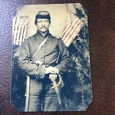Civil War Military Soldier With Sword & Flags TinType C731NP