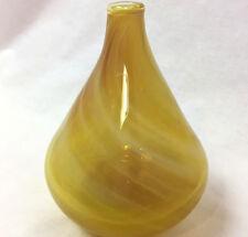 Studio Art Glass Yellow & White Swirl Vase., Signed