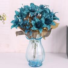 Artificial Silk 6-Head Lily Flower Bouquet 9 Stems Wedding Party Decor-Blue