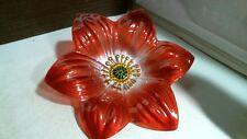 """Nfinity Red Flower Glass Bird Bath 84144 12.99"""" x 12.99"""" x 25.98"""" W/ Pole"""