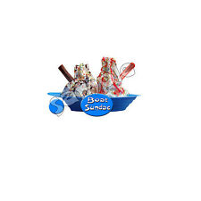 ice cream van / individual boat sundae sticker DIE CUT,