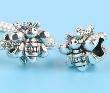 2pcs Tibetan silver Bee Charm Spacer beads fit European Bracelet Chain CC16