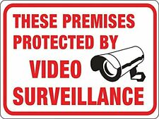 """NEW Hy-Ko Plastic Retail Sign """"These Premises Protected by Video Surveillance"""""""
