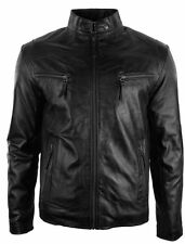 Black men's Slim Fit Biker Style Real Leather Jacket Casual Fitted