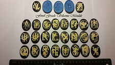 1 PCS CAMEO ALPHABET Themed Buttons Food Grade Silicone Mould