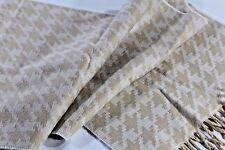 Cashmink Soft Acrylic Cream Ivory Tan Houndstooth PLAID Fringed SCARF Free Ship